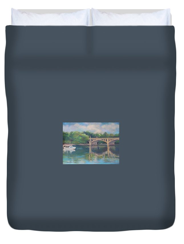 Mcgrath Duvet Cover featuring the painting Basiliere Bridge Haverhill Ma by Leslie Alfred McGrath