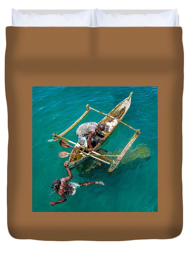 5 Ptd Photo Travel Duvet Cover featuring the photograph Basket Fishing In Mozambique by Gregory Daley MPSA