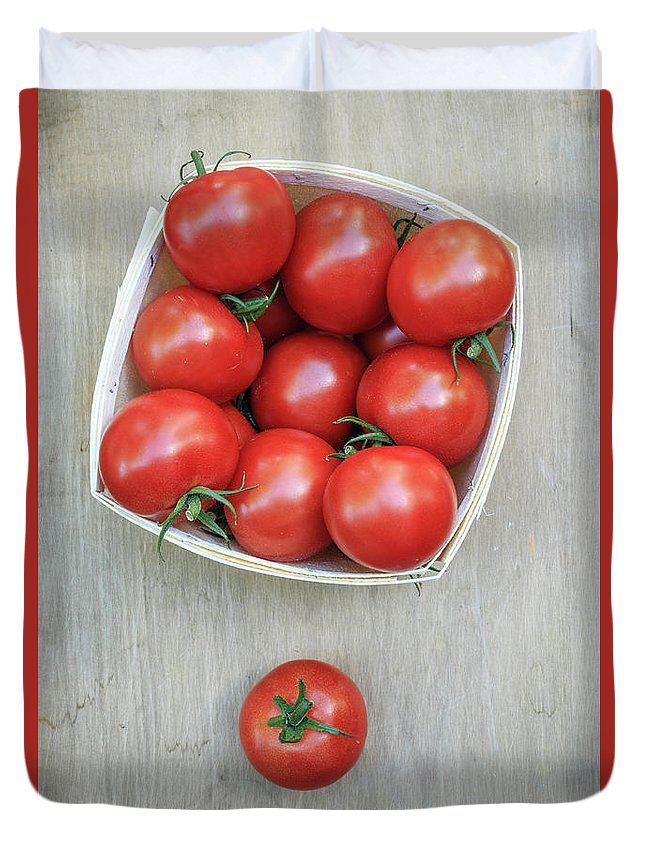 Farm Duvet Cover featuring the photograph Basket Of Fresh Red Tomatoes by Edward Fielding