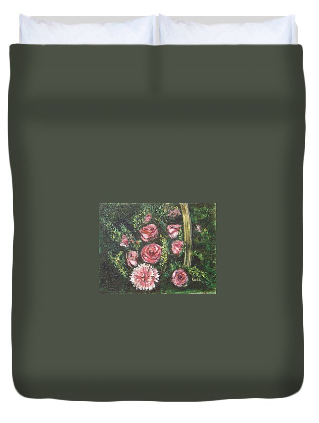Basket Duvet Cover featuring the painting Basket Of Pink Flowers by Usha Shantharam