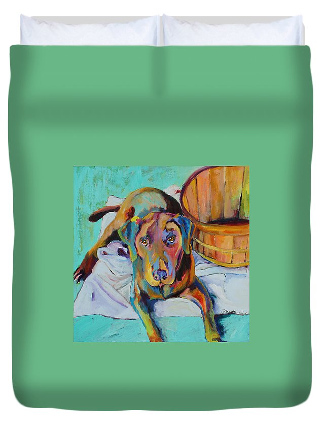 Chocolate Lab Duvet Cover featuring the painting Basket Retriever by Pat Saunders-White