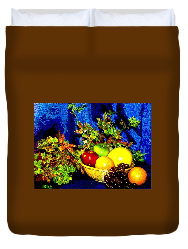 Fruit Duvet Cover featuring the photograph Basket With Fruit by Nancy Mueller