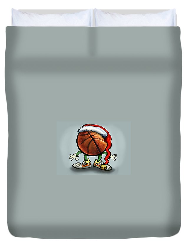 Basketball Duvet Cover featuring the greeting card Basketball Christmas by Kevin Middleton