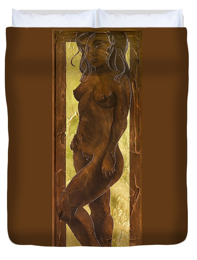 Nude Duvet Cover featuring the painting Basking In The Glow by Richard Hoedl