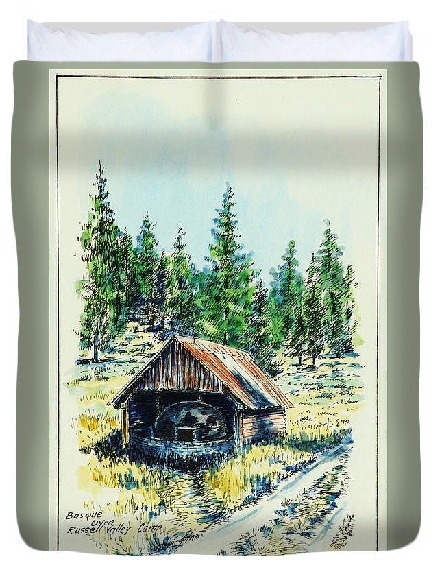 Basque Oven Used Weekly By The Basque Herders And The Camp Tenders To Bake The Sheep Herders Bread For The Surrounding Herder Camps Once Each Week. Duvet Cover featuring the drawing Basque Oven - Russell Valley by Kenneth Mann