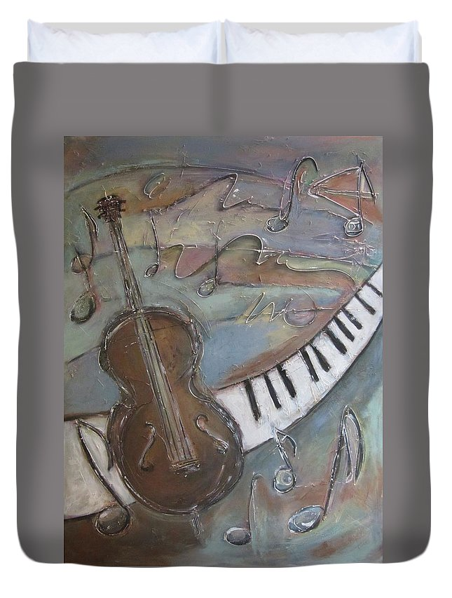 Painting Duvet Cover featuring the painting Bass And Keys by Anita Burgermeister