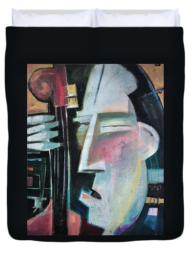 Jazz Duvet Cover featuring the painting Bass Face by Tim Nyberg