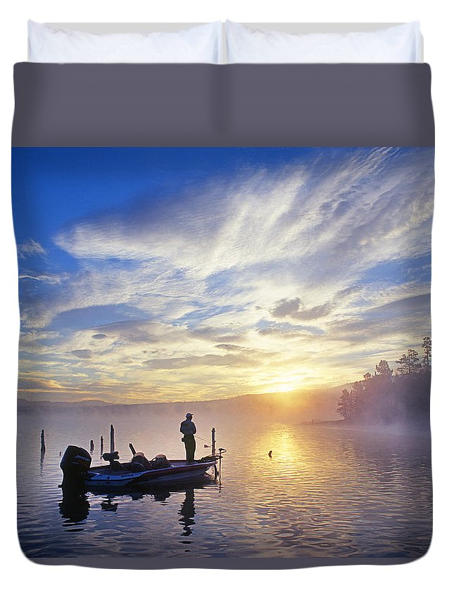 Bass Duvet Cover featuring the photograph Bass Fisherman At Dawn, Oregon Cascades by Buddy Mays
