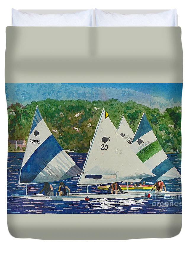 Bass Lake Duvet Cover featuring the painting Bass Lake Races by LeAnne Sowa