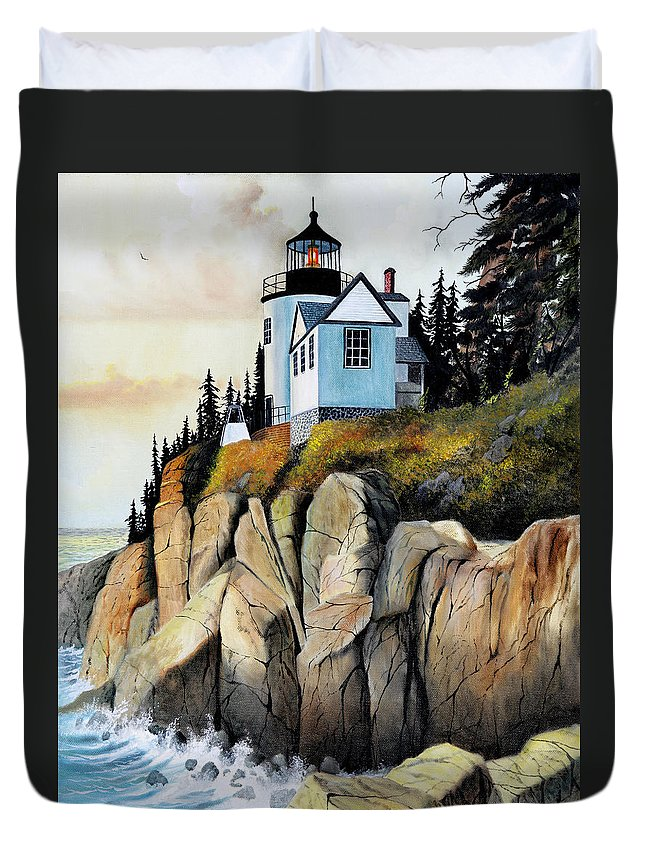 Lighthouse Duvet Cover featuring the painting Bass Light by Don Griffiths