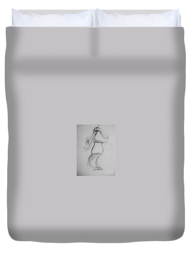 Bass Duvet Cover featuring the drawing Bass Man by Jamey Balester