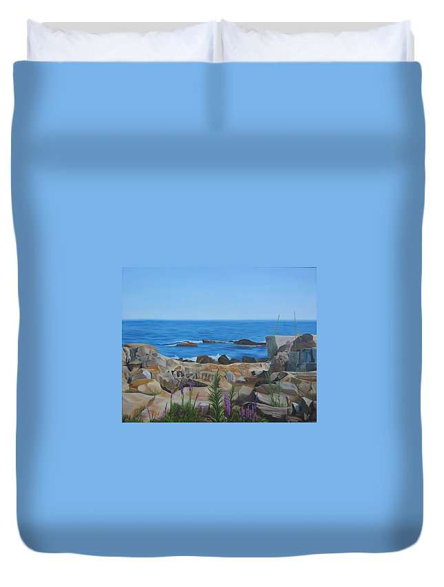 Seascape Duvet Cover featuring the painting Bass Rocks Gloucester by Lea Novak