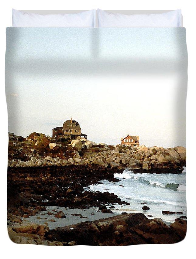 Sea Duvet Cover featuring the painting Bass Rocks Sunset by Paul Sachtleben