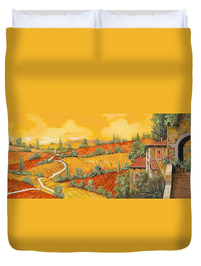 Tuscany Duvet Cover featuring the painting Bassa Toscana by Guido Borelli