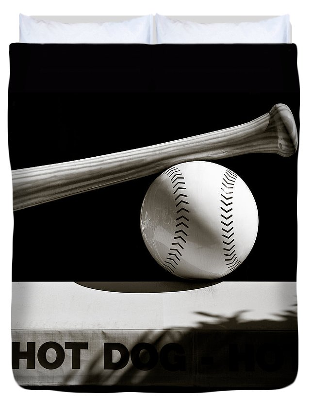 Baseball Bat Duvet Cover featuring the photograph Bat And Ball by Dave Bowman