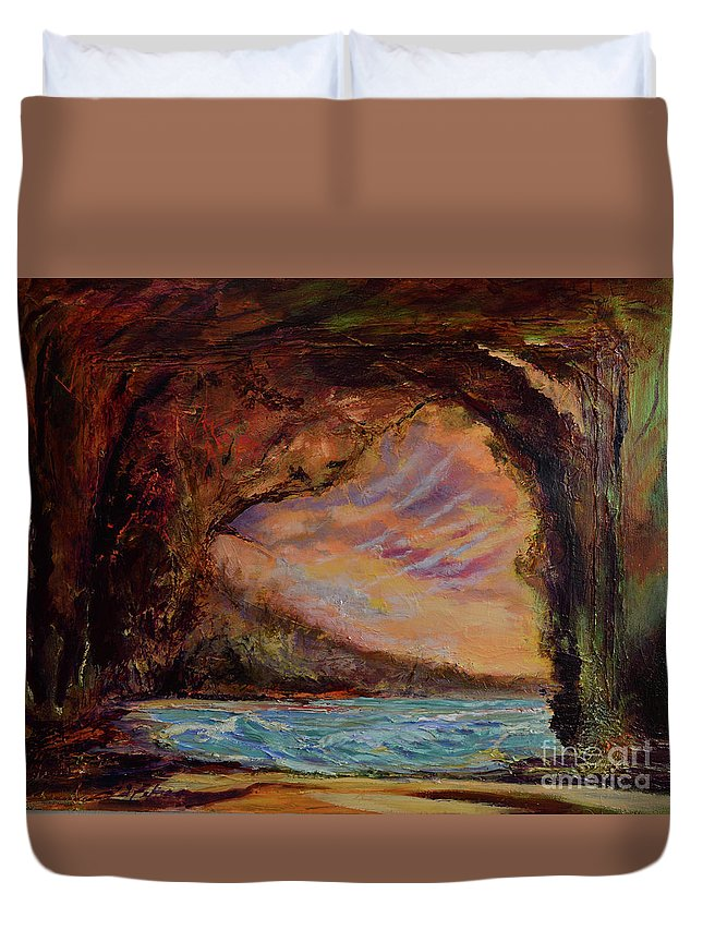 Art Paintings Duvet Cover featuring the painting Bat Cave St. Philip Barbados by Julianne Felton
