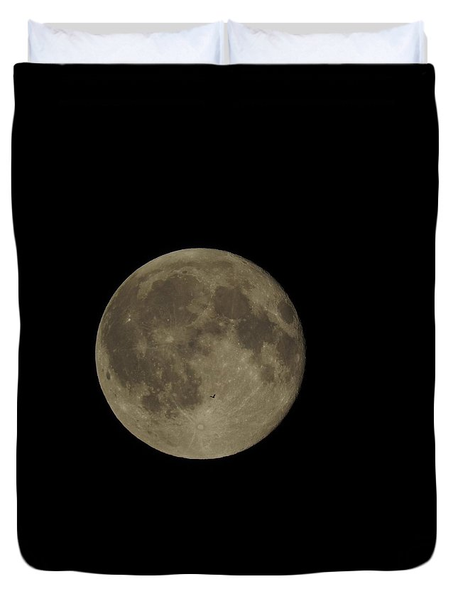 Bat Duvet Cover featuring the photograph Bat Flying Past The Full Moon by Traci York