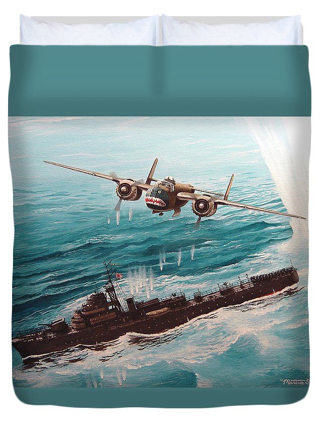 Military Duvet Cover featuring the painting Bat Outta Hell by Marc Stewart
