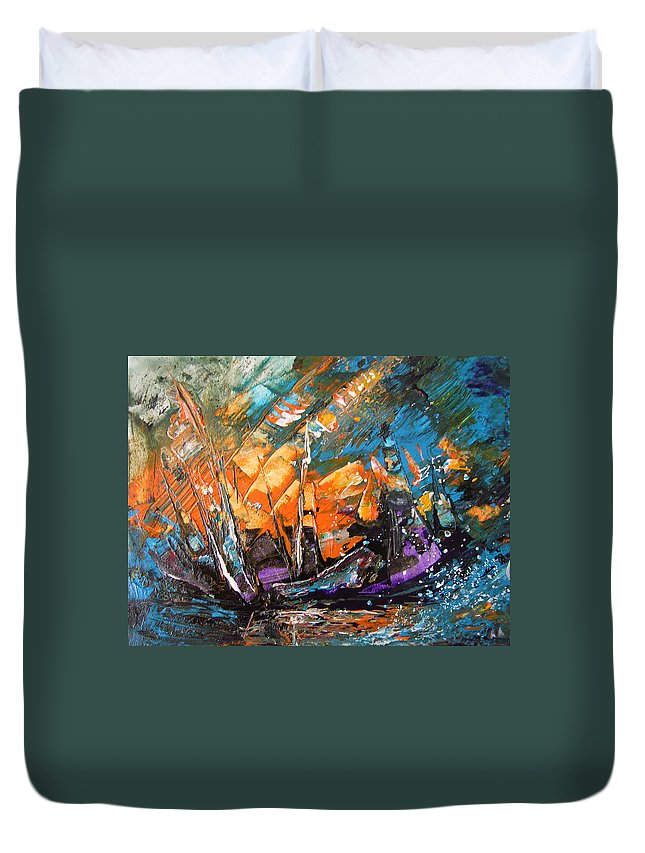 Acrylics Duvet Cover featuring the painting Bataille Navale by Miki De Goodaboom