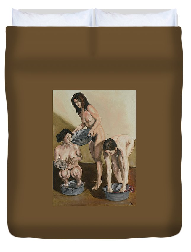 Nude Duvet Cover featuring the painting Bath by Stanimir Stoykov