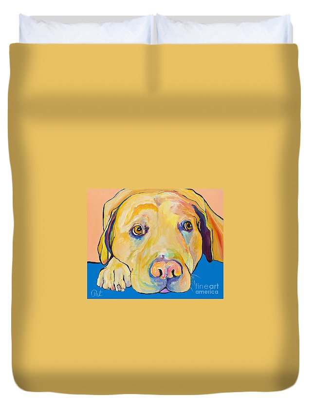 Dog Paintings Yellow Lab Puppy Colorful Animals Pets Duvet Cover featuring the painting Bath Time by Pat Saunders-White