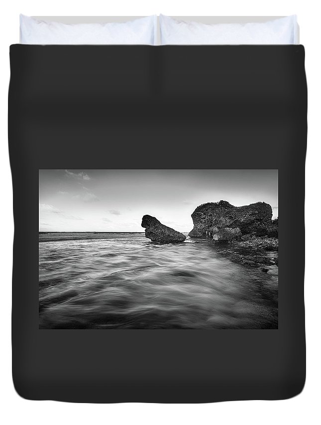 Saint Joseph Duvet Cover featuring the photograph Bathsheba Flow Bw by Andre Donawa