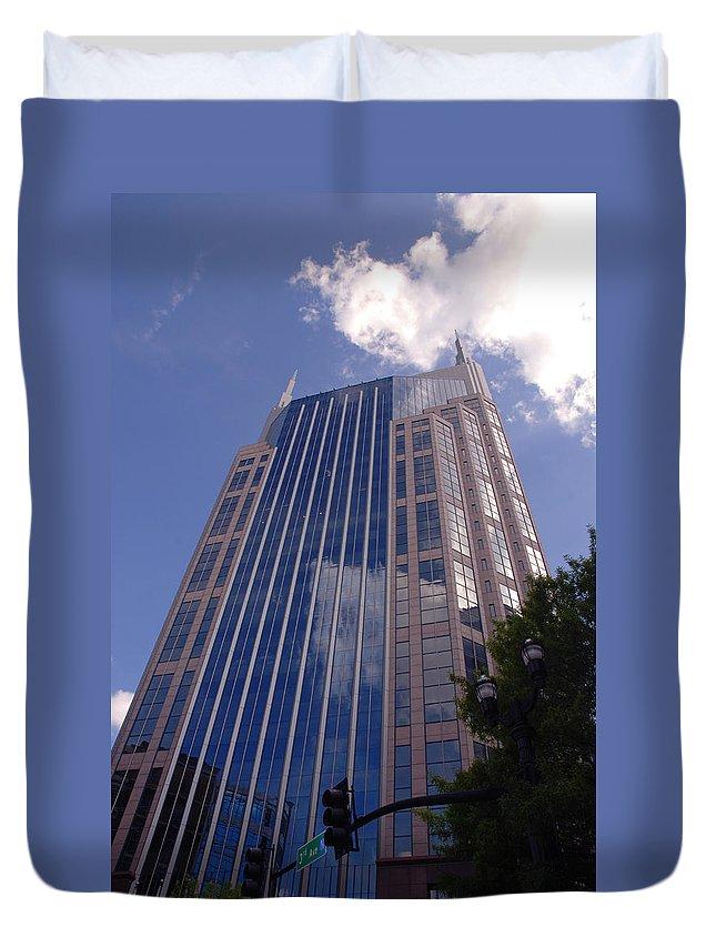 Att House Duvet Cover featuring the photograph Batman Building In Down Town Nashville by Susanne Van Hulst
