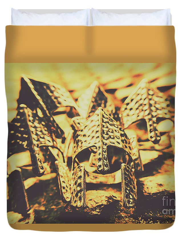 Dark Ages Duvet Cover featuring the photograph Battle Armoury by Jorgo Photography - Wall Art Gallery