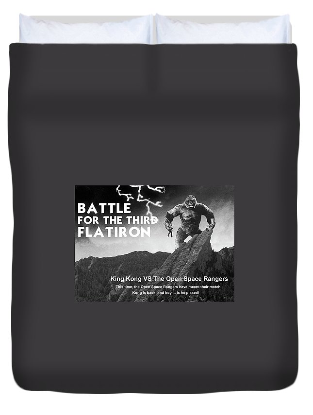 Boulder Duvet Cover featuring the painting Battle For The Third Flatiron by Jerry McElroy