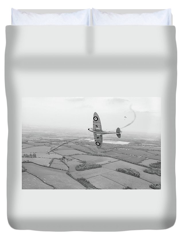 Spitfire Duvet Cover featuring the photograph Battle Of Britain Spitfire Black And White Version by Gary Eason