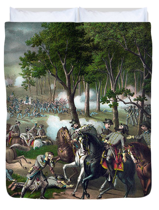 Civil War Duvet Cover featuring the painting Battle Of Chancellorsville - Death Of Stonewall by War Is Hell Store