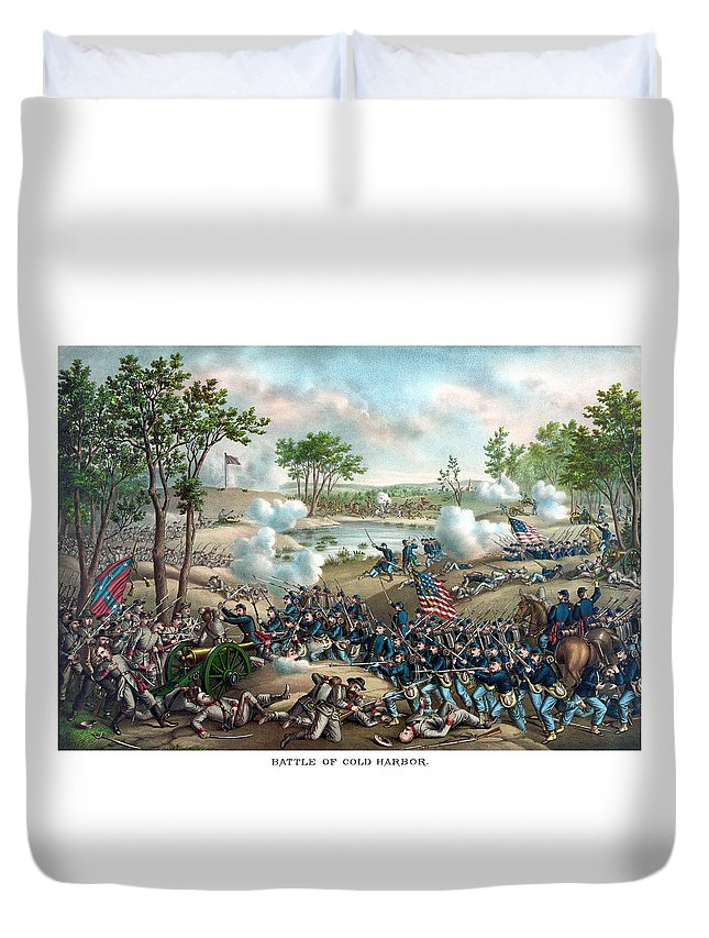 Civil War Duvet Cover featuring the painting Battle Of Cold Harbor by War Is Hell Store