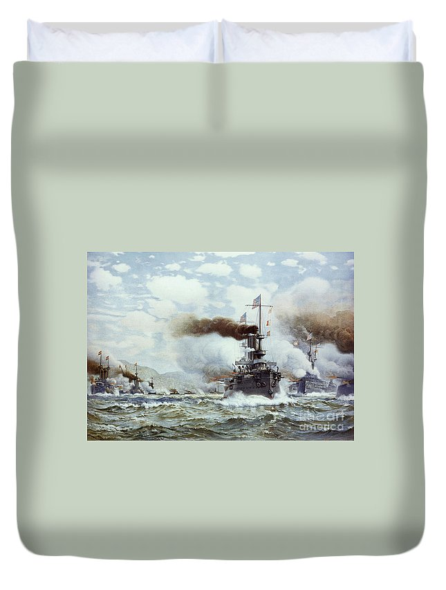 1898 Duvet Cover featuring the painting Battle Of Manila Bay 1898 by Granger