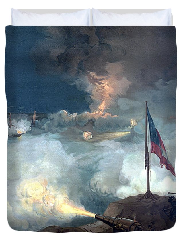 Civil War Duvet Cover featuring the painting Battle Of Port Hudson by War Is Hell Store