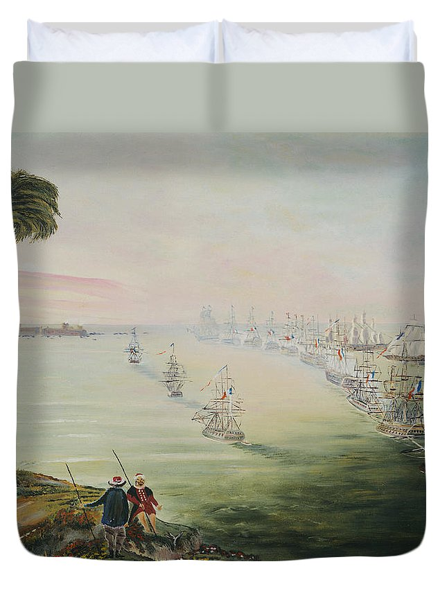 Sea Battle Duvet Cover featuring the painting Battle Of The Nile by Richard Barham
