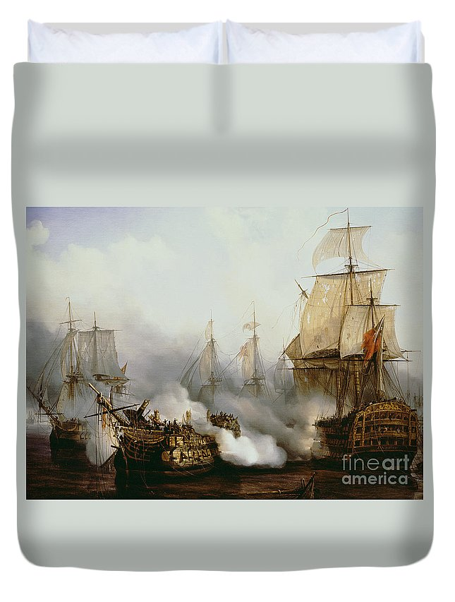 Battle Of Trafalgar By Louis Philippe Crepin Duvet Cover featuring the painting Battle of Trafalgar by Louis Philippe Crepin