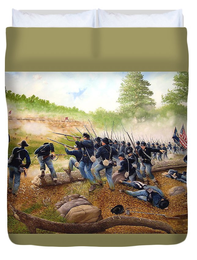 Civil War Duvet Cover featuring the painting Battle Of Utoy Creek by Marc Stewart