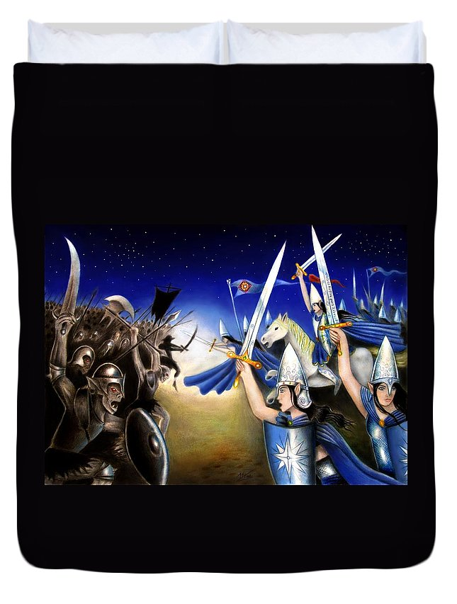 Tolkien Duvet Cover featuring the mixed media Battle Under The Stars by Ilias Patrinos