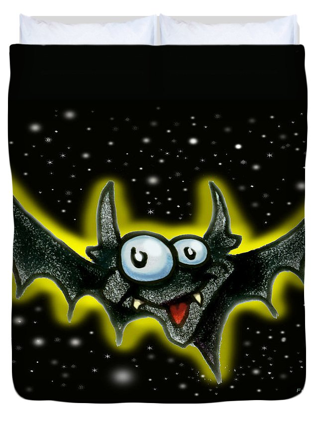 Bat Duvet Cover featuring the greeting card Batty by Kevin Middleton