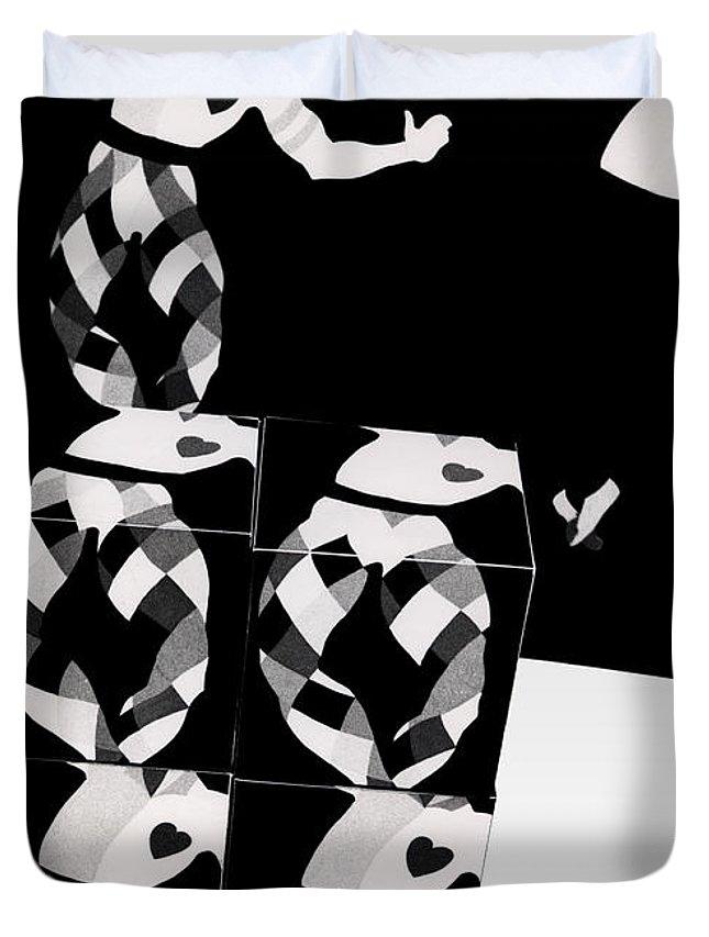 Dance Duvet Cover featuring the photograph Bauhaus Ballet 2 The Cubist Harlequin by Charles Stuart