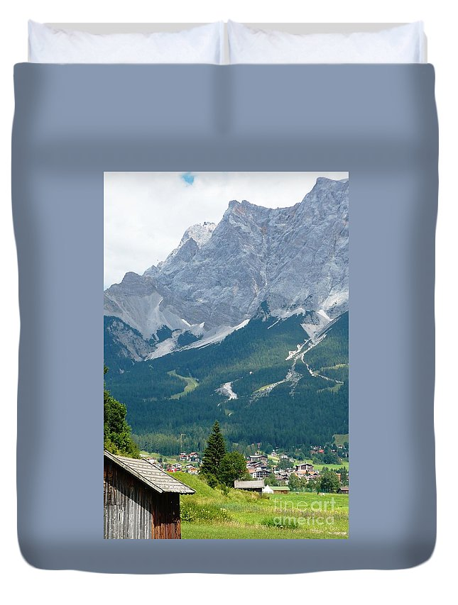 Mountains Duvet Cover featuring the photograph Bavarian Alps With Shed by Carol Groenen