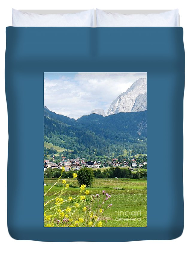 Bavaria Duvet Cover featuring the photograph Bavarian Alps With Village And Flowers by Carol Groenen