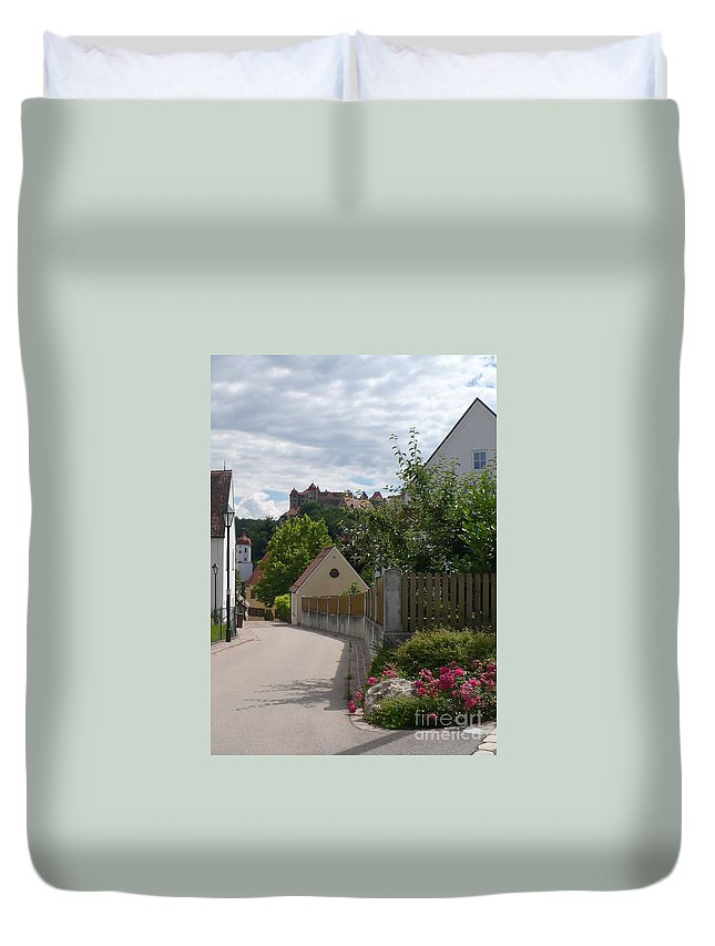 Castle Duvet Cover featuring the photograph Bavarian Village With Castle View by Carol Groenen
