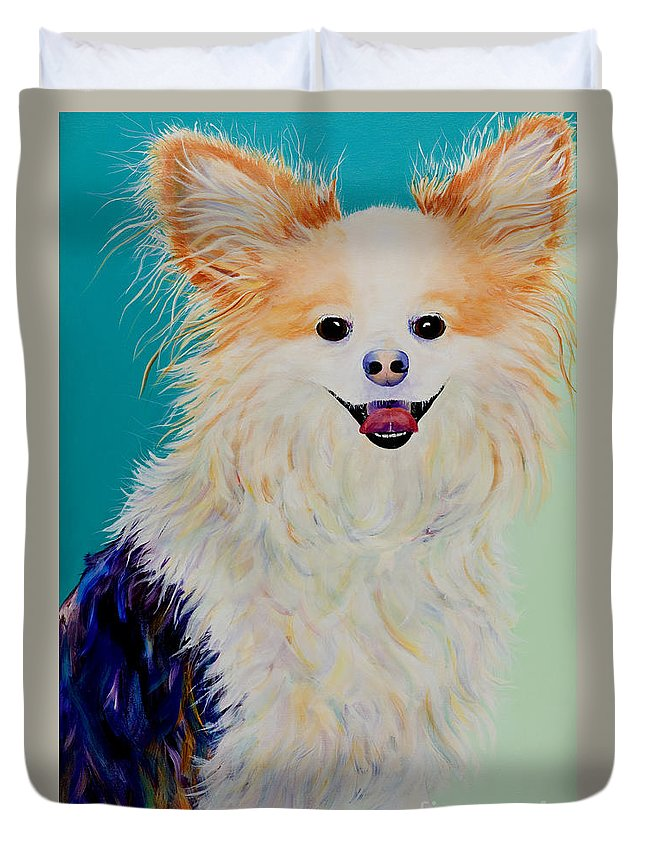 Animal Duvet Cover featuring the painting Baxter by Pat Saunders-White