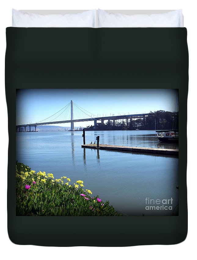 California Duvet Cover featuring the photograph Bay Bridge by Joy Patzner