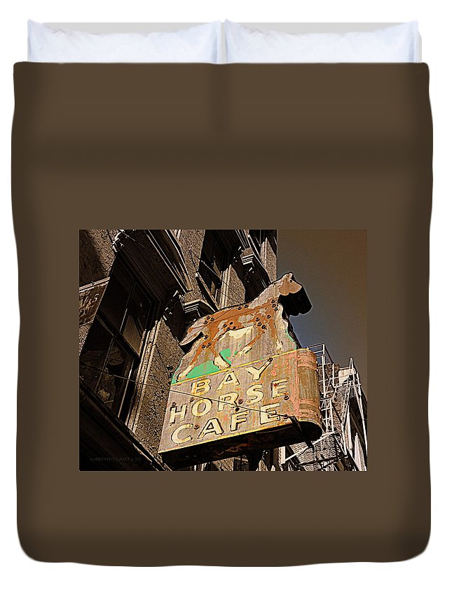 Bay Horse Cafe Duvet Cover featuring the photograph Bay Horse Cafe Sign by Kathy Barney