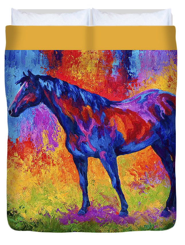 Horses Duvet Cover featuring the painting Bay Mare II by Marion Rose