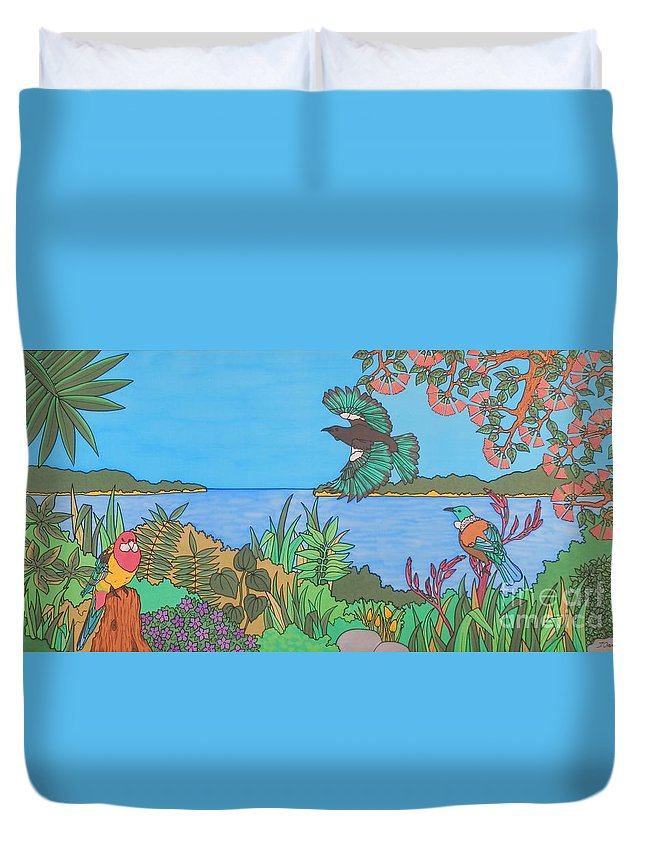 New Zealand Duvet Cover featuring the painting Bay Of Islands Beauties by Joanne Oram