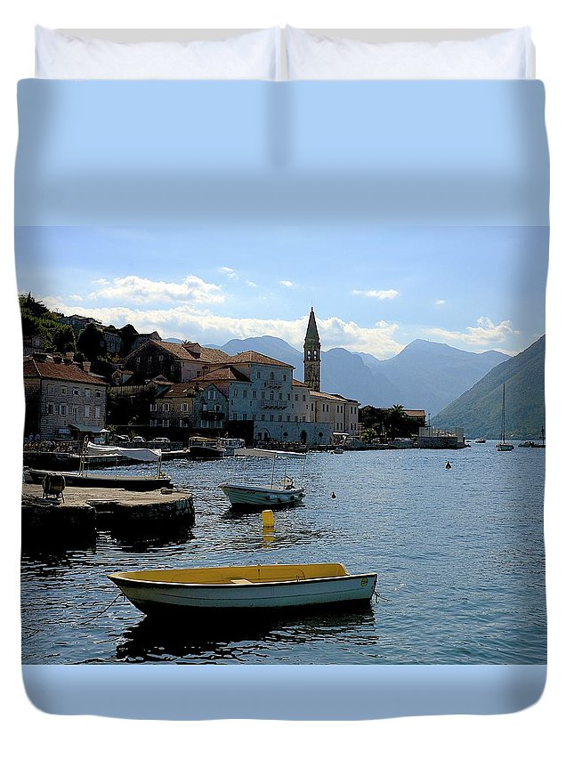 Kotor Duvet Cover featuring the photograph Bay Of Kotor by Clyn Robinson