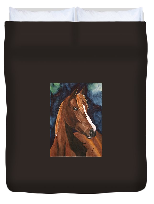Horse Duvet Cover featuring the painting Bay On Blue 2 by Jean Blackmer